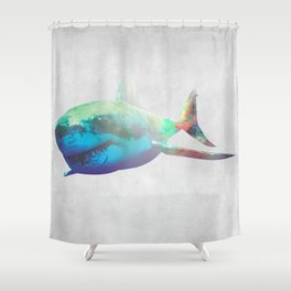 Rocket Shark Shower Curtain