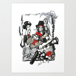 Here there be Pirates Art Print