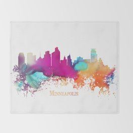 Minneapolis skyline watercolor Throw Blanket