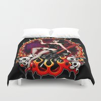 rockabilly Duvet Covers featuring Rockabilly Rockabella (Black) by Isobel Von Finklestein