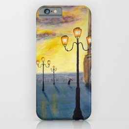 Lowry meets Venice, original painting, acrylics on board iPhone Case
