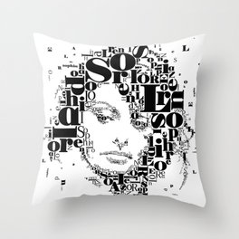 Sophia Loren Typographic Image Throw Pillow