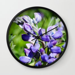 Purple Lupine Photography Print Wall Clock
