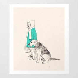 girl n dog Art Print