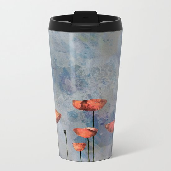 Poppyfield against the blue sky- abstract watercolor artwork Metal Travel Mug
