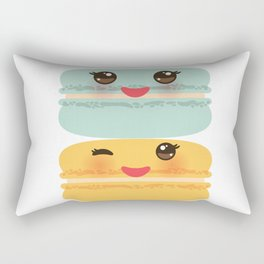 Kawaii macaroon funny orange blue lilac cookie with pink cheeks with pink cheeks and big eyes Rectangular Pillow