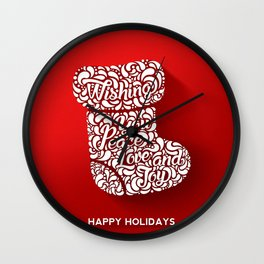 Merry Christmas-Happy holidays - Boot llustration and Typography Wall Clock
