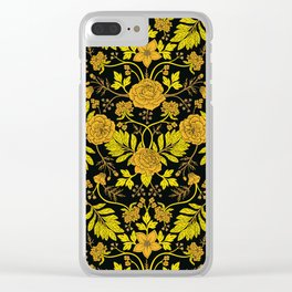 Yellow, Orange, Tan & Black Intricate Floral Pattern Clear iPhone Case