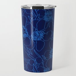 Australian Waxflower Line Floral in Blue Travel Mug