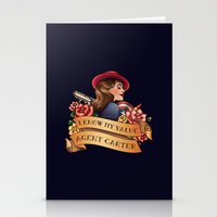 agent carter Stationery Cards featuring Agent Carter Vintage Tattoo Dark by Bonnie Detwiller