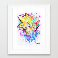 playstation Framed Art Prints featuring Original - CLOUD STRIFE - Watercolor Painting - Playstation by Jonny Clingan