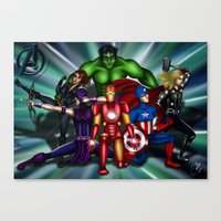 super heroes Canvas Prints featuring Heroes by Callie Clara