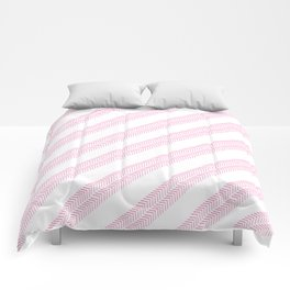 Girly neon pink hand drawn watercolor geometrical chevron Comforters