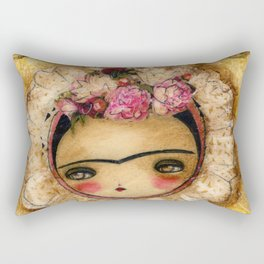 Frida In A Brown And Green Tehuana Mexican Traditional Dress Rectangular Pillow