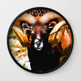 Mouflon Ram Wall Clock