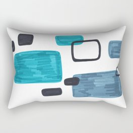 Mid Century Modern Abstract Minimalist Art Colorful Shapes Vintage Retro Style Turquoise Blue Grey Rectangular Pillow