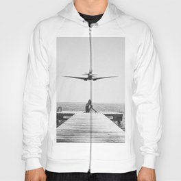 Steady As She Goes; aircraft coming in for an island landing black and white photography- photographs Hoody