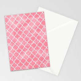 Light Pink Quatrefoil Moroccan Inspired Pattern Stationery Cards