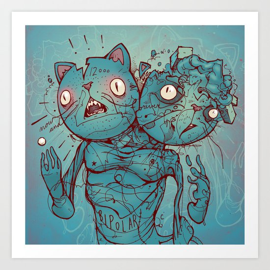 Bipolar Cats Art Print