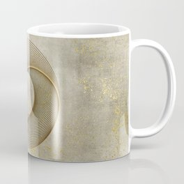 Geometrical Line Art Circle Distressed Gold Coffee Mug