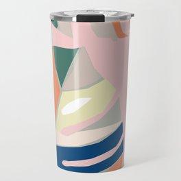 Monstera leaf Jungle mid century modern paper collage Travel Mug