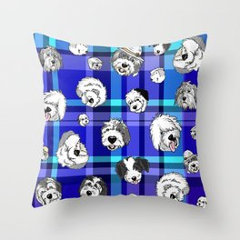 Plaid Sheepies Blue Throw Pillow