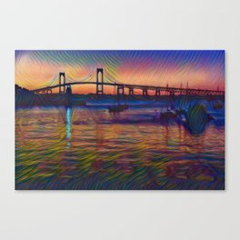 Newport Bridge - Newport, Rhode Island Summer Sunset Canvas Print
