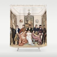 pride and prejudice Shower Curtains featuring Pride and Prejudice and Werewolves by DeadPlants