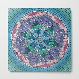 Colorful Dot Art Mandala Flower Of Life Metal Print