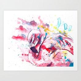 Pink Flamingo Art Print