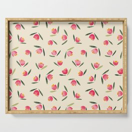 Red and pink tulips pattern Serving Tray