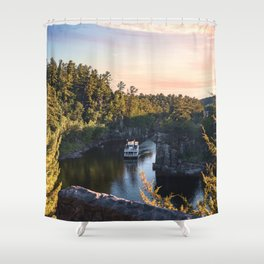 Riverboat at Sunset-Photography in Minnesota Shower Curtain
