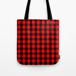 Classic Red and Black Buffalo Check Plaid Tartan Tote Bag