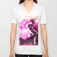 ballerina V-neck T-shirts featuring Ballerina. by PureVintageLove