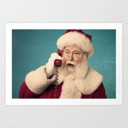 "A seventies vintage looking Santa Claus on the phone yelling ""WHAT"" Art Print"