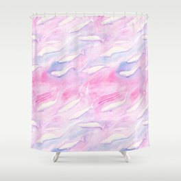 Beluga Whale and Narwhal Family Swim - Bright Pattern Shower Curtain