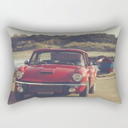 Triumph Spitfire by the sea, with ship, fine art photo, british car, sports car, color, high definit Rectangular Pillow