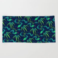 Mr Snake in the Rainforest - Green Beach Towel