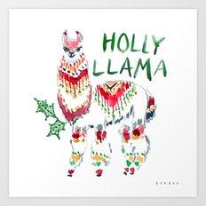 HOLLY LLAMA Holiday Watercolor Art Print
