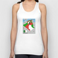 political Tank Tops featuring political map of Algeria country with flag by tony tudor