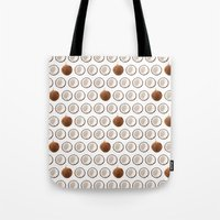 coconut wishes Tote Bags featuring Coconut by GOLDASTIC