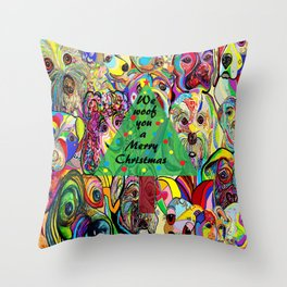 We Woof You a Merry Christmas Throw Pillow