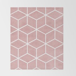 Blush Pink and White - Geometric Textured Cube Design Throw Blanket