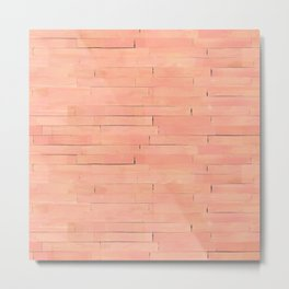 Peach Wooden Planks Wall Metal Print