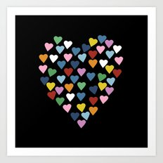 Hearts Heart Black Art Print