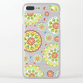 Pink Lotus Mandala allover pink Clear iPhone Case