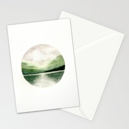 Foggy Mountain Lake Watercolor Landscape | Minimalism Painting | Round Painting Stationery Cards