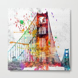 Golden Gate Bridge Grunge Metal Print