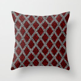 red gray rhombus Throw Pillow