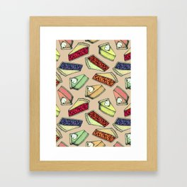 Easy As Pie - cute hand drawn illustrations of pie on neutral tan Framed Art Print